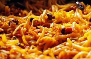 linguine con olive, pancetta e pecorino